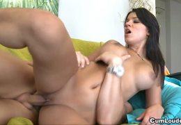 Teen Angel Rivas rides on a really big Dick