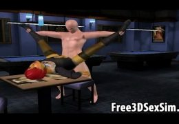 Sexy 3D cartoon redhead hottie riding a hard cock